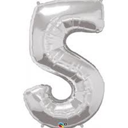 Balloon Number Megaloon Five Silver