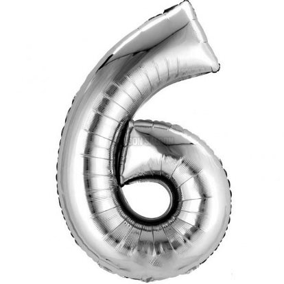 Balloon Number Megaloon Six Silver 86cm