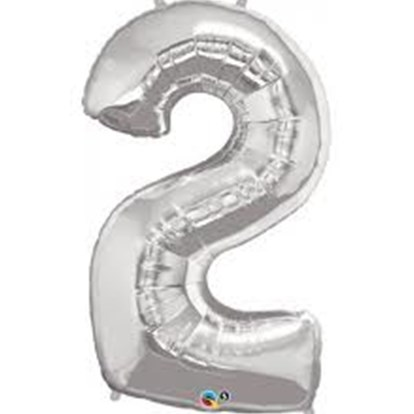 Balloon Number Megaloon Two Silver 86cm