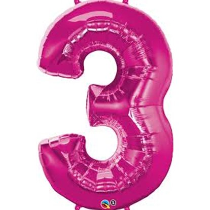 Balloon Number Megaloon Three Pink