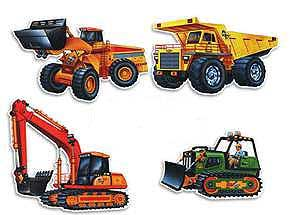 Cutout Construction Vehicles Pk4