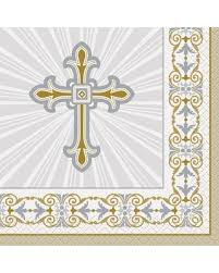 Radiant Cross Gold/Sv Lunch Napkins Pk16