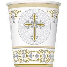 Radiant Cross Gold/Sv Cups 270ml Pk8