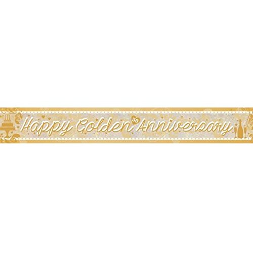 Banner Happy Anniversary Golden / 50th 2.7M