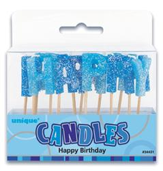 Candles Glitz H/Birthday Blue