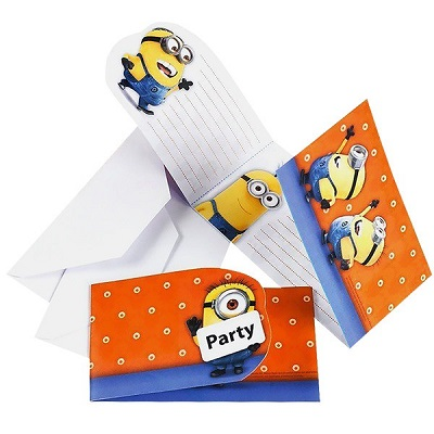 Minions Invites & Envelopes Pk6