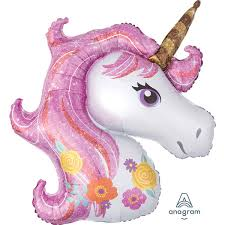 Supershape Unicorn Head Pink Holographic