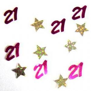 21st Scatters Pink with Silver Stars holographic