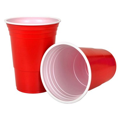 Beer Pong Cups Red 450ml Pk25